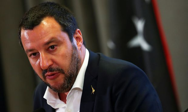 FILE PHOTO: Italian Interior Minister Matteo Salvini talks during a news conference with Libyan Deputy Prime Minister Ahmed Maiteeg in Rome