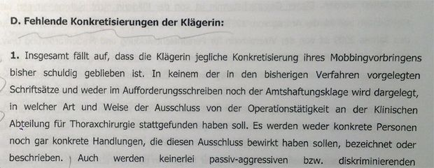 Aus der ursprünglichen Klagebeantwortung der Finanzprokuratur vom 13. September 2010.
