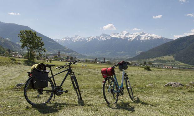 Viele Etappen führen durch die Apfelgärten der Südtiroler Obstbauern, immer im Hintergrund: die Berge.