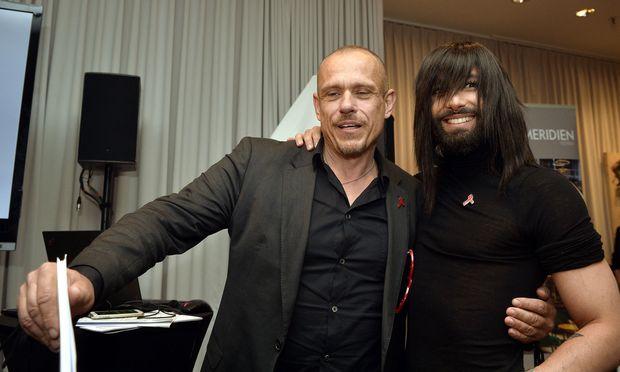 Gery Keszler und Conchita bei der Life-Ball-Pressekonferenz am Mittwoch.