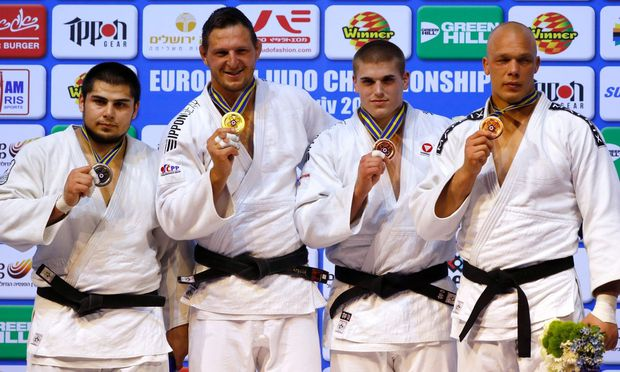 Tamerlan Bashaev (RUS, Silber), Lukas Krpalek (CZE, Gold), Stephan Hegyi (AUT, Bronze) und Henk Grol (NED, Bronze).
