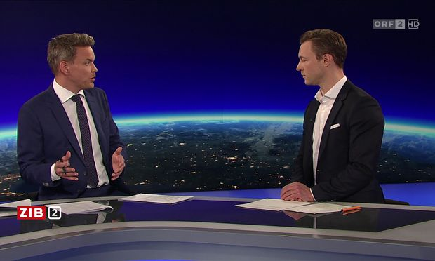 """ÖVP-Minister Gernot Blümel (rechts) zum digitalen """"Vermummungsverbot""""."""