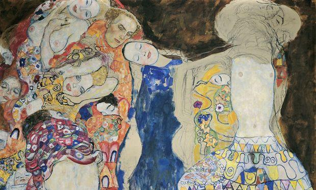 """Die """"Braut"""" (Mitte) zwischen ihren Träumen und Trieben: Sonst als Dauerleihgabe im Belvedere, wird sie im Leopold-Museum jetzt erstmals """"Tod und Leben"""" gegenübergestellt, einem von zwei Gegenstücken. / Bild: (c) Klimt-Foundation"""