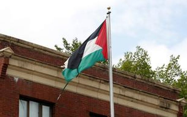 Palästinensische Fahne vor der Vertretung in Washington.