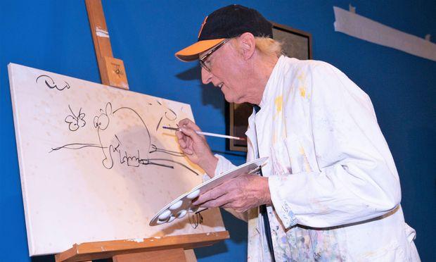 Otto Waalkes, Kult-Comedian, zeigt sein Mal- und Zeichen-Œuvre.   / Bild: Imago