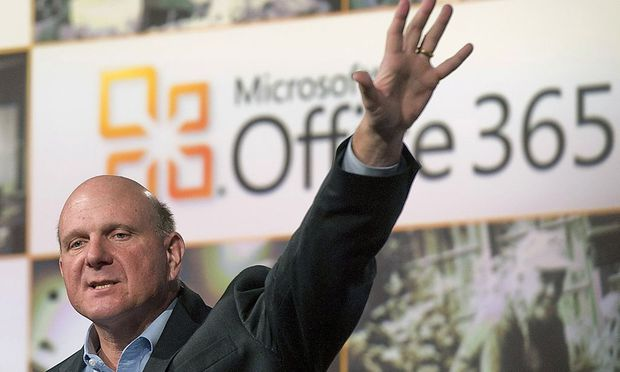 File photo of Microsoft CEO Steve Ballmer speaking at the launch of the company's Microsoft 365 cloud service in New York