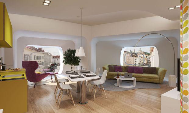 """2018 fertig: Von Zaha Hadid geplante Luxuswohnungen """"Argos"""" in Graz. / Bild: (c) Herzog Immobilien"""