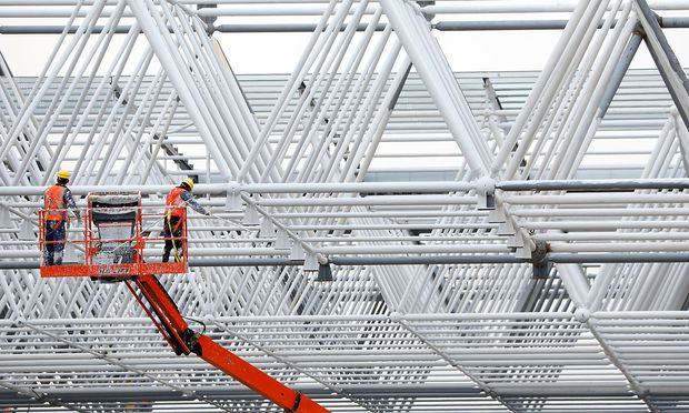 Gigafactory of electric carmaker Tesla Inc is seen under construction in Shanghai