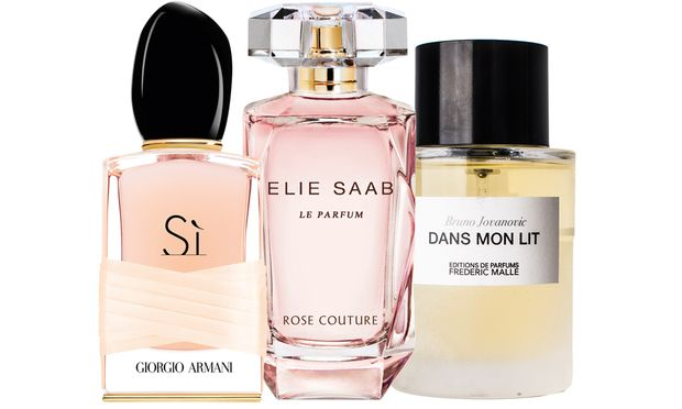 """Rosenstolz. """"Sì Rose Signature"""" von Armani (50 ml um 91 Euro), """"Rose Couture"""" von Elie Saab (50 ml um 68 Euro, ab März) und """"Dans mon lit"""" von Bruno Jovanovic für Frédéric Malle (100 ml um 85 Euro)."""