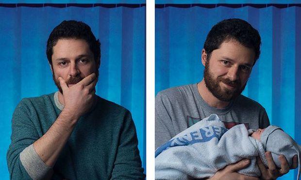 Wie sich Väter vor und nach der Geburt ihrer Kinder fühlen, sollen diese Bilder ausdrücken.