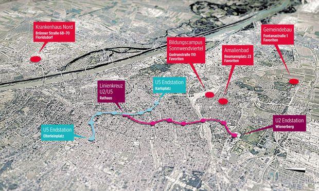 Eine Auswahl alter und neuer Prestigeprojekte des roten Wien aus unterschiedlichen Bereichen – inklusive geplante Linienführung der U5 und U2 (Letztere in der Grafik nur bis zum Linienkreuz Rathaus eingezeichnet).