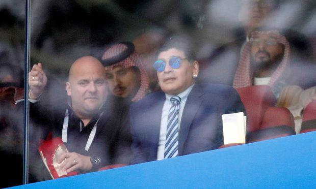 Diego Maradona beim WM-Eröffnungsspiel Russland gegen Saudiarabien.