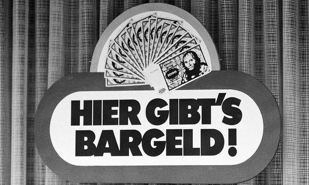Werbeschild einer Sparkasse in den Siebziger Jahren.