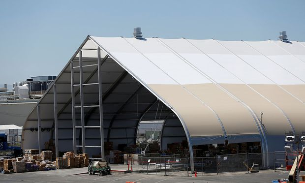 FILE PHOTO: A tent is seen at the Tesla factory in Fremont, California