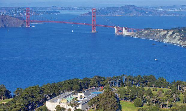Verdichtung. Der  Lincoln Park, die Golden Gate Bridge – und die stark besiedelte  Bay Area.