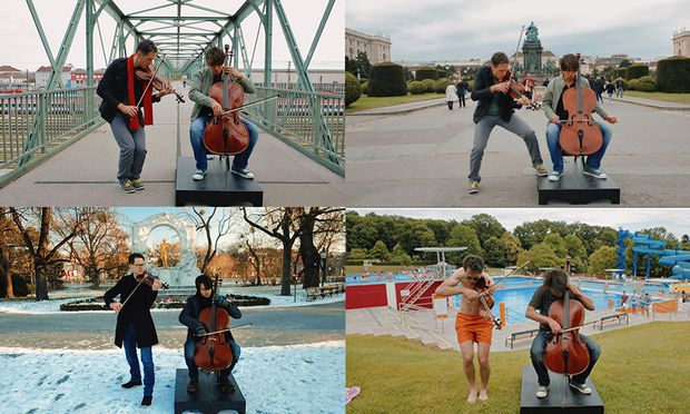 Im Stadtpark, in der Spanischen Hofreitschule und im Kran: Mehr als ein Jahr lang haben Klemens Bittmann (Geige) und Matthias Bartolomey (am Cello) in ganz Wien gedreht. Auf Facebook wurde das Video weltweit mehr als eine Million Mal aufgerufen.