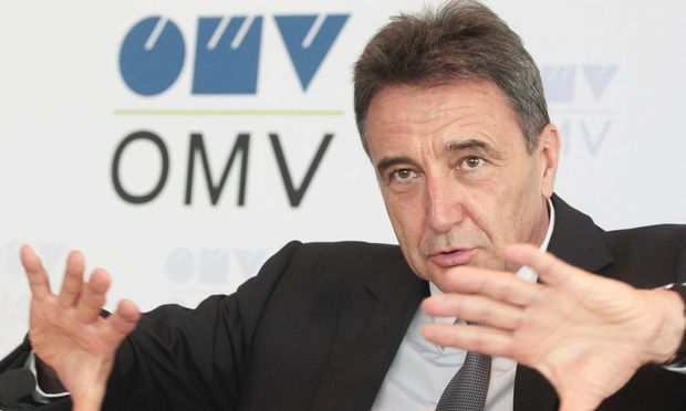 OMV CEO Roiss gestures during news conference in Vienna