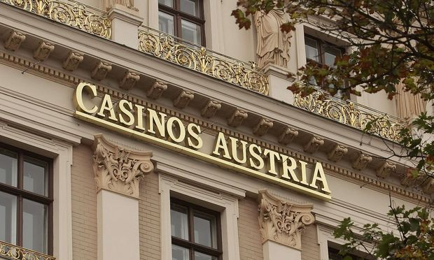 The logo of Austrian gambling monopolist Casinos Austria is pictured on its headquarters in Vienna