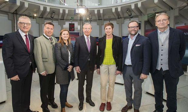 Die sieben Spitzenkandidaten der Salzburg-Wahl.