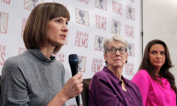 Rachel Crooks, Jessica Leeds and Samantha Holvey speak at news conference for the film ´16 Women and Donald Trump´ in Manhattan, New York