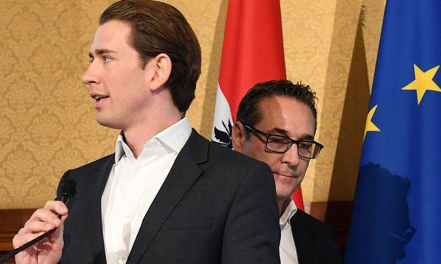 Die Koalitionsverhandler ÖVP-Obmann Sebastian Kurz und FPÖ-Chef Heinz-Christian Strache.