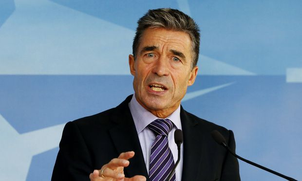 NATO Secretary General Rasmussen speaks during a news conference at the Alliance headquarters in Brussels