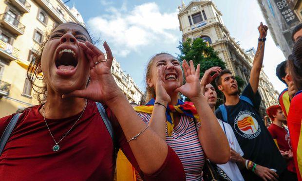 Hoffen auf die Unabhängigkeit: Demonstranten in Barcelona.