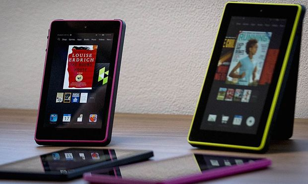 New Amazon Kindle Fire 7HD's are displayed during a launch event in New York
