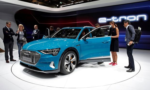 FILE PHOTO: The Audi e-tron 5S Quattro at the Paris auto show
