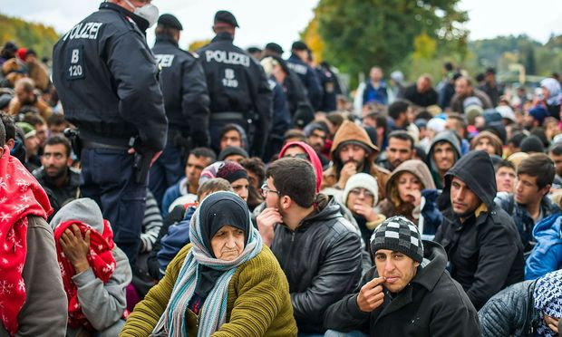 Ein Bild von der österreichisch-slowenischen Grenze von Oktober 2015.