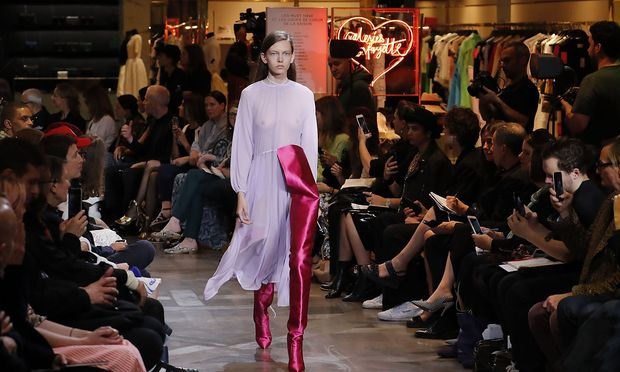 A model presents a creation from the Haute Couture Fall Winter 2016/2017 collection by Vetements fashion house in Paris