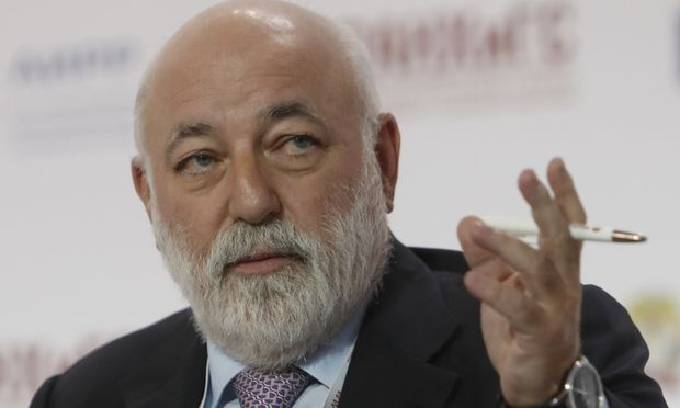 FILE PHOTO: Chairman of the Board of Directors of Renova Group Viktor Vekselberg speaks during a session of the Gaidar Forum 2018 'Russia and the World: values and virtues' in Moscow