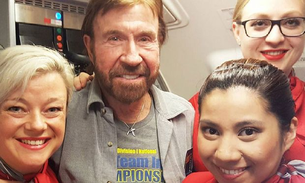 """""""Chuck Norris doesn't fly with Austrian Airlines, Austrian Airlines flies with Chuck Norris."""