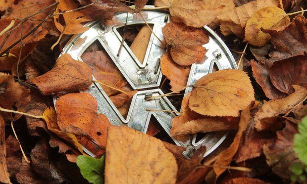 Symbolbild zur Krise bei Volkswagen Emblem VW liegt weggeworfen am Straszenrand im Herbstlaub