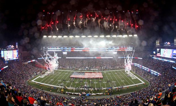 FILE PHOTO: An overall of the stadium during the national anthem before the game between the New England Patriots and the Pittsburgh Steelers in the 2017 AFC Championship Game in Foxborough