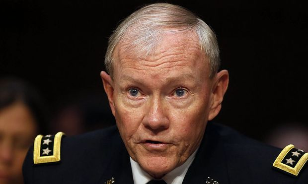 File photo of Chairman of the Joint Chiefs General Martin Dempsey  testifying at a Senate Armed Services Committee in Washington