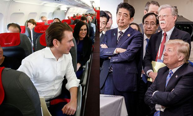 Sebastian Kurz im Flugzeug und Donald Trump beim G7-Gipfel