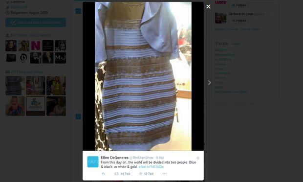 Schwarz blaues kleid optische tauschung