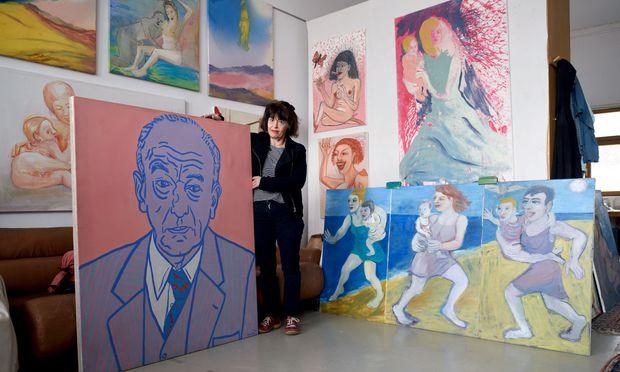 """Terese Schulmeister hält ihren Vater Otto, 1986 gemalt von ihrem vorgeblichen """"Befreier"""" Otto Mühl."""