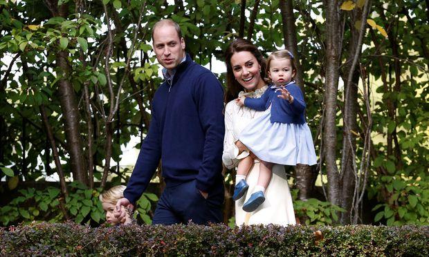 Prinz George, Prinz William, Herzogin Catherine und Prinzessin Charlotte.