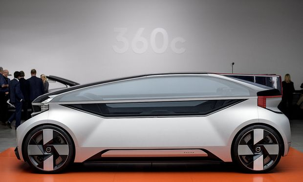 Volvo's 360c autonomous concept car is seen in Gothenburg