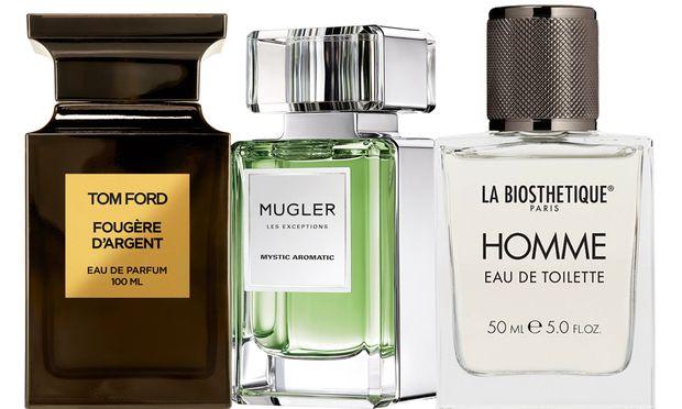 """""""Fougère d'Argent"""" von Tom Ford (50 ml um 298€), """"Mystic Aromatic"""" von Mugler (80 ml um 180 €, exklusiv bei Naegele & Strubell am Graben), """"La Biosthétique Homme"""" (50 ml um 55 €)."""