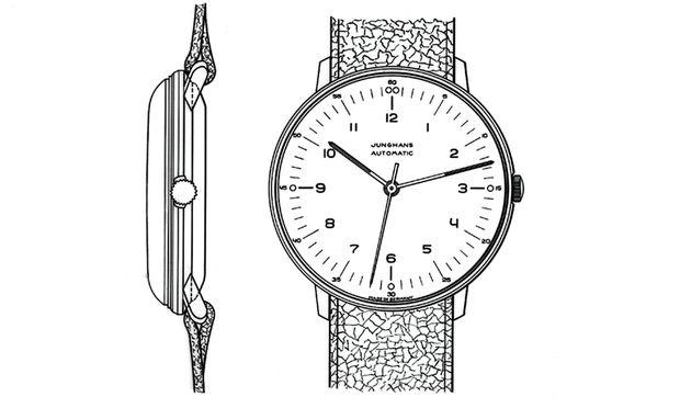 Bauhausstil Skizze für eine der frühen Armbanduhren.