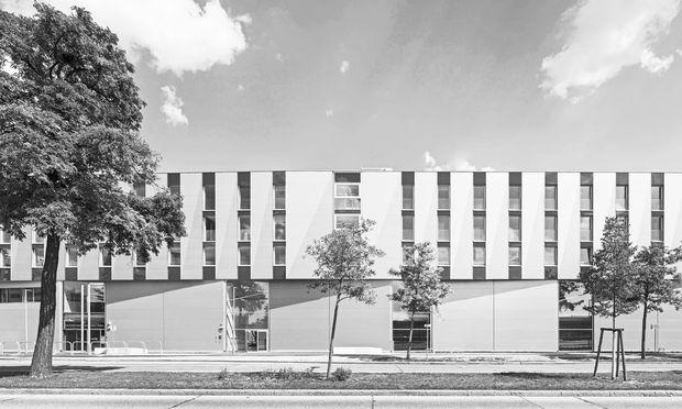 Rhythmisierung der Länge durch Faltung: Volksschule Wagramer Straße.