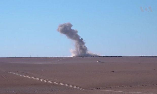 Wirkung eines US-Luftangriffs nahe Raqqa