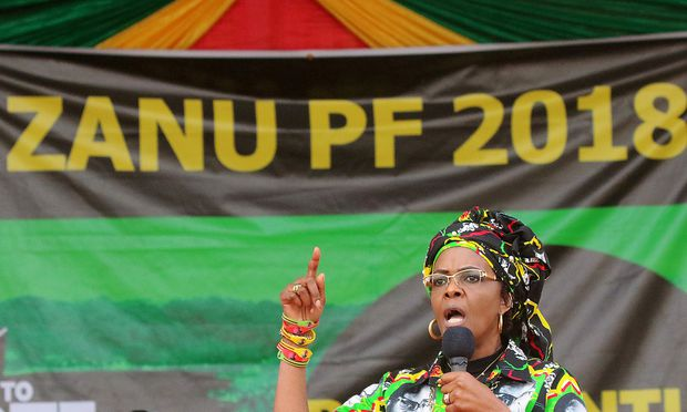 FILE PHOTO: Grace Mugabe, wife of President Robert Mugabe, addresses a rally of the ruling ZANU (PF)  in Chinhoyi, Zimbabwe