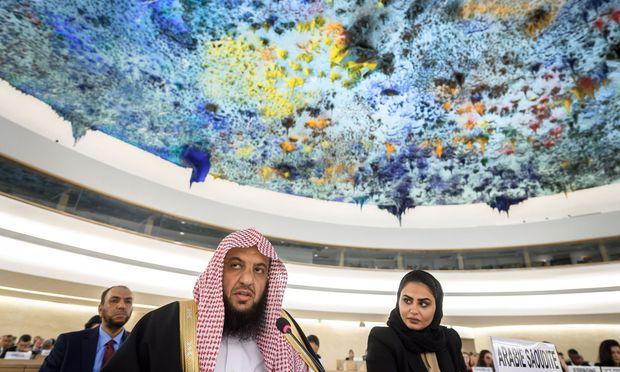 Mitglieder der saudischen Delegation im UN-Menschenrechtsrat in Genf. Riad steht wegen des Falls Khashoggi am Pranger.