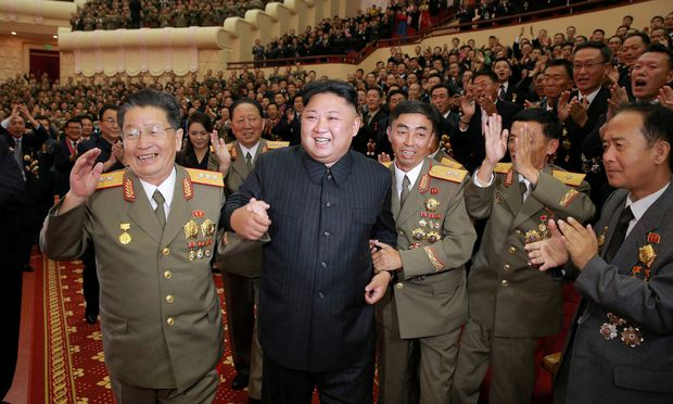 North Korean leader Kim Jong Un reacts during a celebration for nuclear scientists and engineers who contributed to a hydrogen bomb test, in this undated photo released by North Korea´s Korean Central News Agency (KCNA)