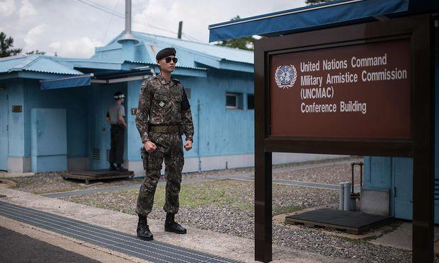 Ein Soldat an der Grenze zwischen Nord- und Südkorea.