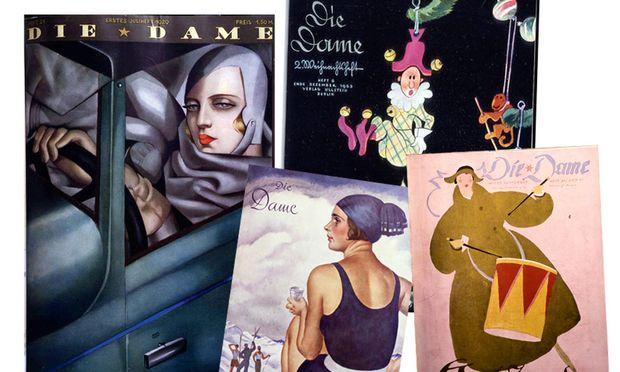 """Illuster. Einige Titelseiten der Zeitschrift  """"Die Dame"""", die 2017 ein Revival erleben soll."""